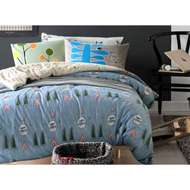 New Trees and Letters Printing Blue 4-Piece Cotton Duvet Cover