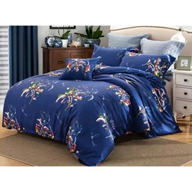 Charming Flower Print Luxury Style Blue Cotton 4-Piece Bedding Sets/Duvet Cover
