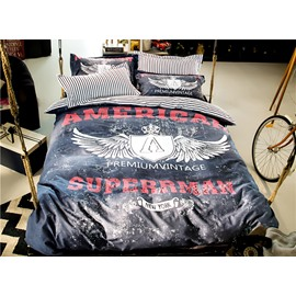 Super Cool Wing Pattern Black 4-Piece Cotton Duvet Cover Sets