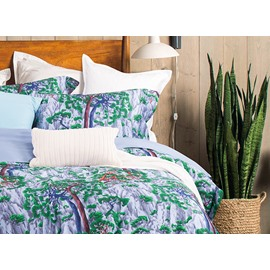 Chinese National Style Pine Printing 4-Piece Cotton Duvet Cover Sets