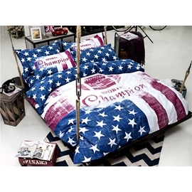 Special Sports Champion Design 4-Piece Cotton Duvet Cover Sets
