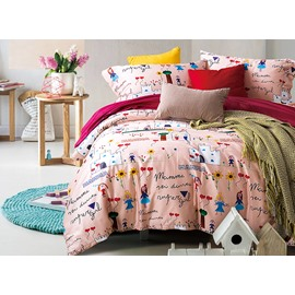 Super Cozy Cute Girl and Letters Printing 4-Piece Cotton Duvet Cover Sets