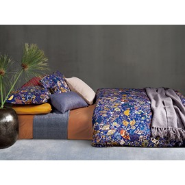 Luxury Style Flourishing Floral Pattern Blue Cotton 4-Piece Bedding Sets/Duvet Cover