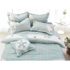 Super Sweet Hand-Appliqued Blue Cotton 4-Piece Duvet Cover Sets