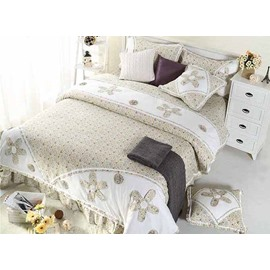 High Class Pretty Personalized Hand-Appliqued 4-Piece Cotton Duvet Cover Sets