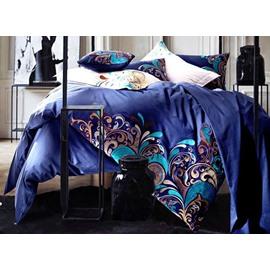 Noble Elegant Embroidery Blue 4-Piece Cotton Bedding Sets