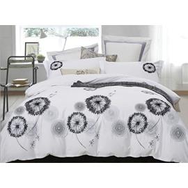 Creative Design Dandelions Embroidery White 4-Piece Cotton Bedding Sets