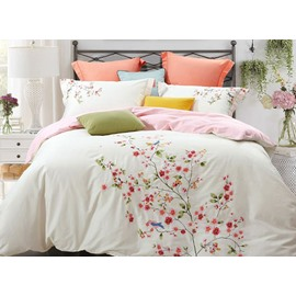 Full Size Chic Flowers Embroidery White 4-Piece Cotton Bedding Sets/Duvet Cover