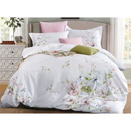 Full Pastoral Style Flower Embroidery White 4-Piece Cotton Bedding Sets/Duvet Cover