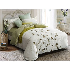 Full Pastoral Style Embroidery White 4-Piece Cotton Bedding Sets/Duvet cover