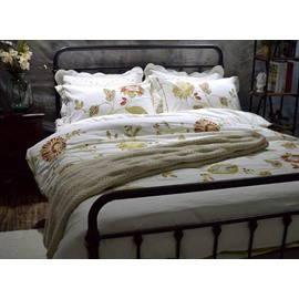 Stunning Flower Embroidery White 4-Piece Cotton Duvet Cover Sets