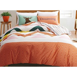 Elegant Colorful Ripple Design 4-Piece Cotton Duvet Cover Sets