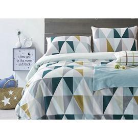 Modern Elegant Triangle Pattern 4-Piece Cotton Duvet Cover Sets