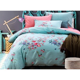 100% Cotton Graceful Flowers Print Blue 4-Piece Duvet Cover Sets