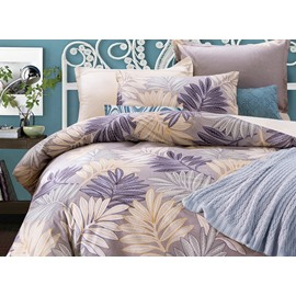 Full Size Faddish Leaves Pattern Purple Cotton 4-Piece Bedding Sets/Duvet Cover