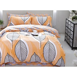 Full Size Leaves Stripe Pattern Yellow Cotton 4-Piece Bedding Sets/Duvet Cover