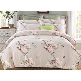 Pink Flowers and Blue Birds Print 4-Piece Cotton Bedding Sets/Duvet Covers