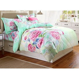 Fresh Green Style Beautiful Peonies Print 4-Piece Cotton Duvet Cover Sets