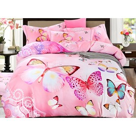 Dreamlike Colorful Butterflies Print Pink 4-Piece Cotton Duvet Cover Sets