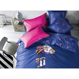 Fantastic Running Horse Embroidery 4-Piece Cotton Duvet Cover Sets