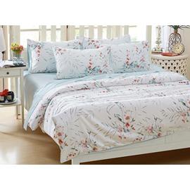 Beautiful Flowers Print White Background 4-Piece Cotton Bedding Sets