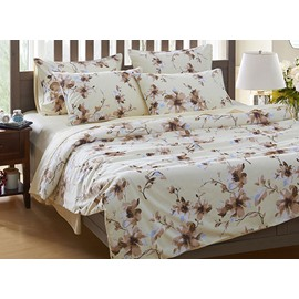 Super Soft Adorable Flowers Print White 4-Piece Cotton Bedding Sets