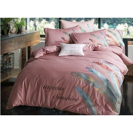Burgundy Feather Print Pure Cotton 4-Piece Bedding Sets
