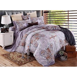 Pure Cotton Ikat Light Purple 4-Piece Bedding Sets