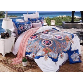 Royal Style Pearl White Reactive Printing 4-Piece Cotton Duvet Cover Sets