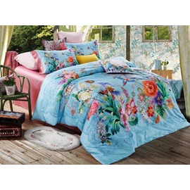 Floral Print Tropical Style Blue 4-Piece Cotton Bedding Sets/Duvet Cover
