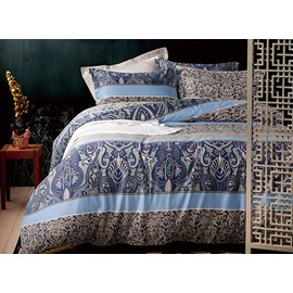 Chic Paisley and Damask Pattern Blue 4-Piece Cotton Bedding Sets