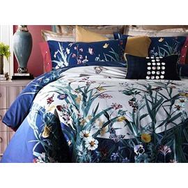 Elegant Orchid Digital Printing Pima Cotton 4-Piece Bedding Sets