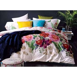 Bright Colorful Tropical Flower Print 4-Piece Cotton Bedding Sets