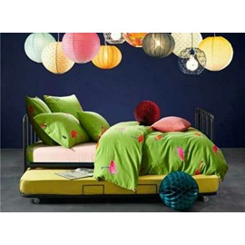 Fabulous Flamingo Print Fresh Green 4-Piece Cotton Bedding Sets