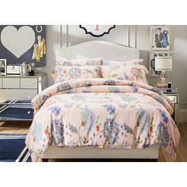 Noble Lovely Blue Flower Reactive Printing 4-Piece Duvet Cover Sets