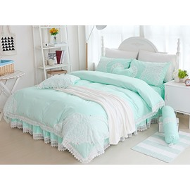 Princess Style Lace Edging Mint Green Cotton 4-Piece Bedding Sets