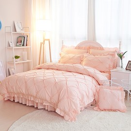 Pinch Pleat Cotton Princess Style 4-Piece Pink Duvet Covers/Bedding Sets Colorfast Wear-resistant Endurable Skin-friendly All-Season Ultra-soft Microfiber No-fading