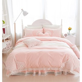 Full Stylish Lace Dreamy Pink 4-Piece Cotton Bedding Sets/Duvet Cover