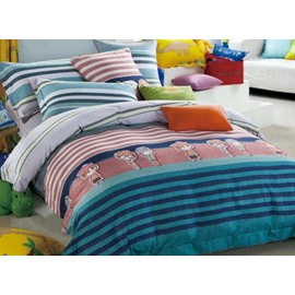 Popular Cartoon Girl and Stripes Print 4-Piece Cotton Duvet Cover Sets