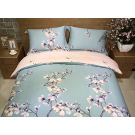 Pink Peach Blossom Print Blue 4-Piece Cotton Duvet Cover Sets