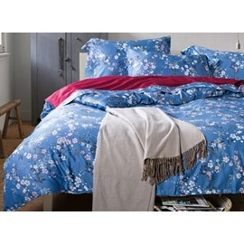 Elegant White Floret Print Blue 4-Piece Cotton Duvet Cover Sets