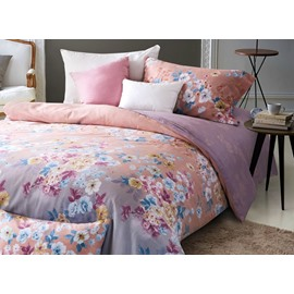 Sweet Colorful Floret Print 4-Piece Cotton Duvet Cover Sets