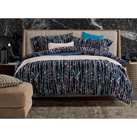 Noble Bird and Bamboo Print 4-Piece Cotton Duvet Cover Sets