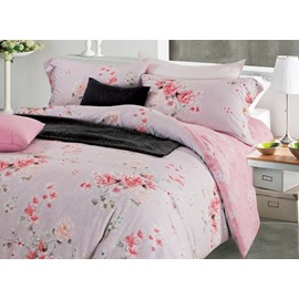 Marvelous Peony Print Pink 4-Piece Cotton Duvet Cover Sets