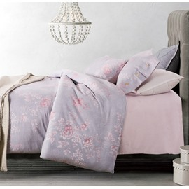 Dreamy Pink Peony Light Purple 4-Piece Cotton Duvet Cover Sets