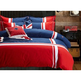 British Style Simple Stripes Print 4-Piece Cotton Duvet Cover Sets
