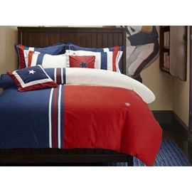 Academy Style Red and Blue 4-Piece Cotton Duvet Cover Sets