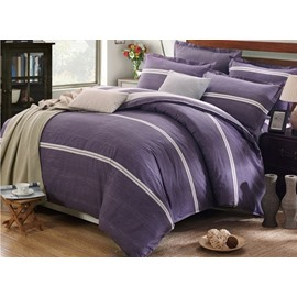 Popular Simple Stripe Design Purple 4-Piece Cotton Duvet Cover Sets
