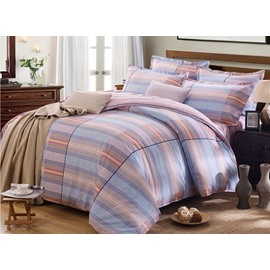 Classic Gradient Stripe Reactive Printing 4-Piece Cotton Duvet Cover Sets