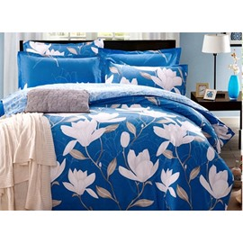 Stylish White Magnolia Print Blue 4-Piece Cotton Duvet Cover Sets